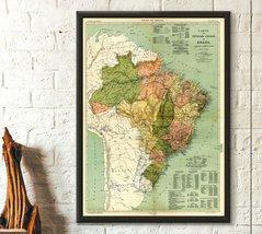 Atlas do Brazil 1909 Map of Brazil Rio de Janeiro Poster Travel Poster T... - $16.99+