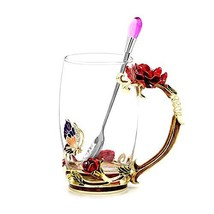 Daycindy Handmade Enamel Cup Glass Coffee Mug with Spoon Set 13oz, Rose Red - $35.46