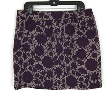 Ann Taylor Loft Womens Skirt Size 12 Purple Floral Tapestry Casual Cotto... - $22.95