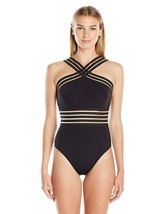 Kenneth Cole New York Women's High Neck Cross Front Banded One Piece Swimsuit image 1