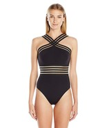 Kenneth Cole New York Women's High Neck Cross Front Banded One Piece Swi... - $75.51