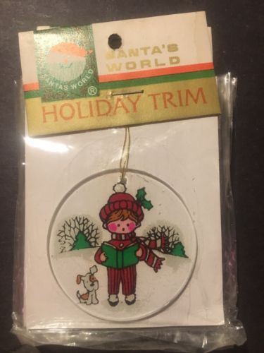 Santas World Holiday Trim Kurt S Adler Caroling Boy And Dog Ornament Vintage