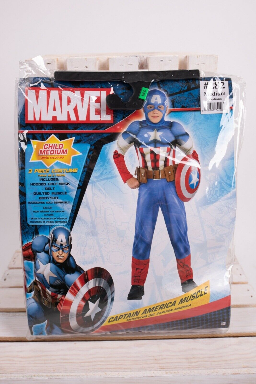 Primary image for Marvel Captain America Muscle Kids Halloween Costume Medium Mask Belt Complete