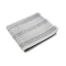 4 X Luxury Striped 100% Combed Cotton Soft Absorbant Silver Black Hand Towels - $15.83