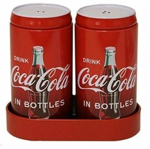 Coca Cola Salt and Pepper Shakers With Caddy New Tin Coke In Bottles Red - $11.63