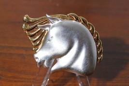 Vtg Monet Silver & Gold Tone Stalllion Horse Head Statement Brooch Pin - $14.81