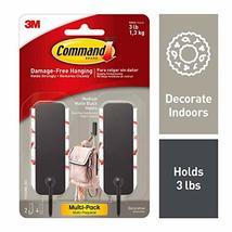 Command 17034MB-2ES Medium Matte Black Decorative, 2 Hooks Per Pack image 2