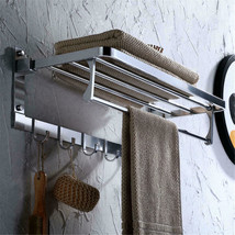 Alumimum Bath Double-Deck Towel Rack Rail Bar Wall Mounted Holder Storag... - $38.49