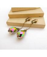 Vintage Antiqued Gold Tone Rainbow Crystal Teardrop Dangle Earrings H10 - $14.44