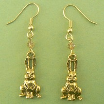 Sitting Bunny Rabbits (Gold) Pewter Earrings - $9.95