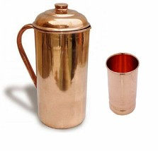 Pure Copper jug Water Pitcher 1.5 Ltr With 200ml Glass Pot For Health Ay... - $29.69
