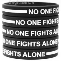 No One Fights Alone Wristband with Thin WHITE Line - Wholesale Bracelet ... - $5.82+
