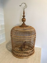 "Vtg Asian Thai Bamboo Wood Bird Cage  w hanger MAITLAND SMITH eeuc 24"" - £114.81 GBP"