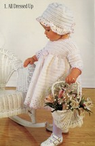 Knit Crochet Baby Dress Mop Hat Mitts Bootie Cardigan Blanket Patterns N... - $12.99