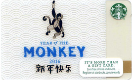 Starbucks 2016 Year Of The Monkey Collectible Gift Card New No Value - $3.99