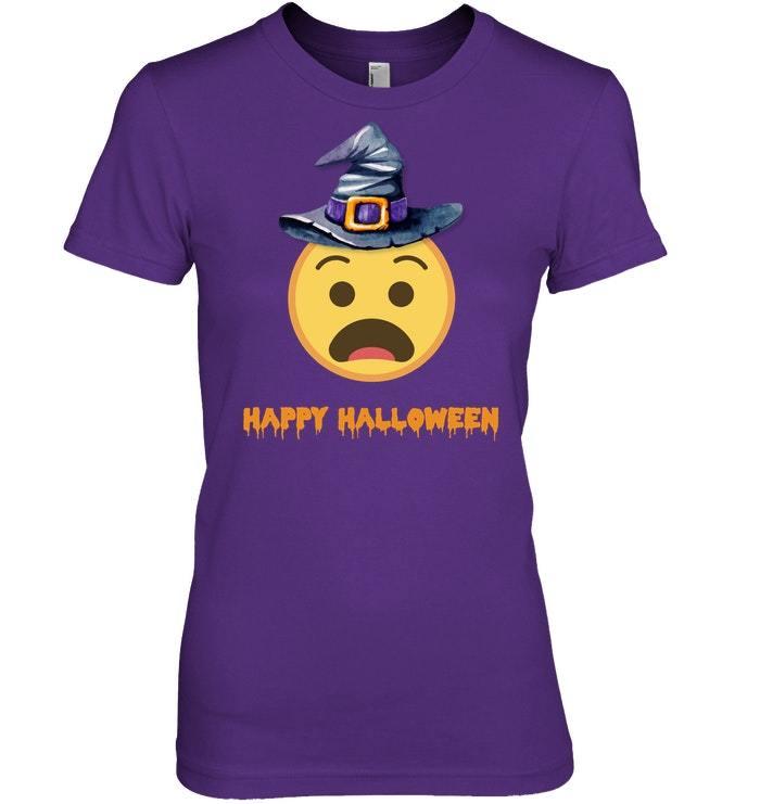 Funny Happy Halloween Cute Shocked Witch Emo Tshirt