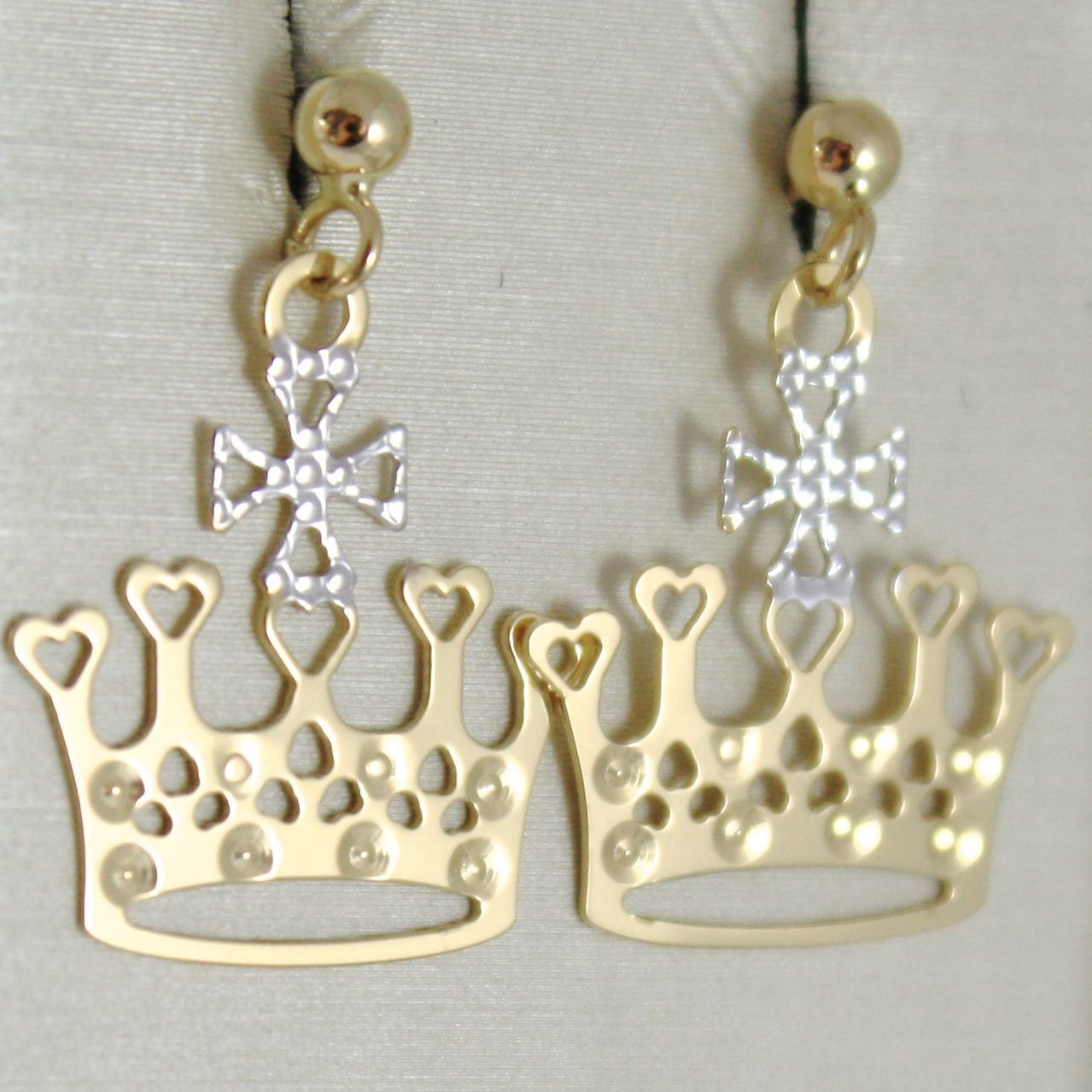 YELLOW GOLD EARRINGS WHITE 750 18K, CROWN, QUEEN, 2.2 CM, MADE IN ITALY