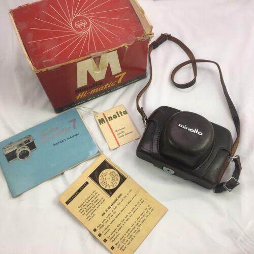 Vintage Minolta HI-MATIC 7 Camera w/Case, Original Box & Paperwork