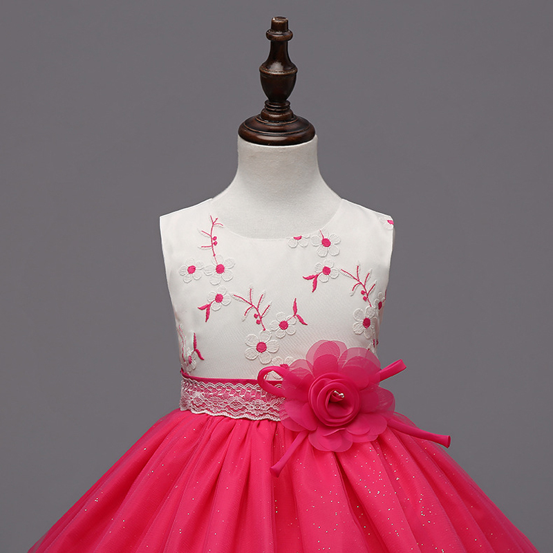 Short Flower Girls Dresses O-Neck Pricess Holiday  Dress Flowers Formal Dress