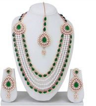 Green Traditional Indian Wedding Gold Plated Necklace Earrings Party Jew... - $28.47