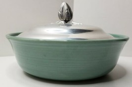 Vintage USA made Pottery serving bowl and  Aluminum Lid - $12.99