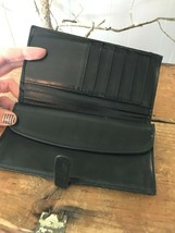 Vtg Coach Women's Black Leather Bi-Fold Envelope Credit Card Wallet Tab ... - $48.38