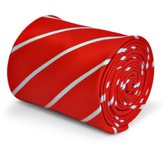 Frederick Thomas Designer Mens Tie - Bright Red and White - Repp Striped... - $15.81