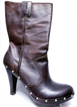Michael Kors Leather Boots Brown Studded Women 8.5 High Heel Gently Used... - £74.79 GBP