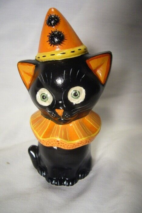 Vaillancourt Folk Art, Halloween Black Cat Signed
