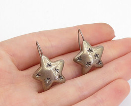 925 Sterling Silver - Vintage Oxidized Etched Pattern Star Drop Earrings... - $26.84