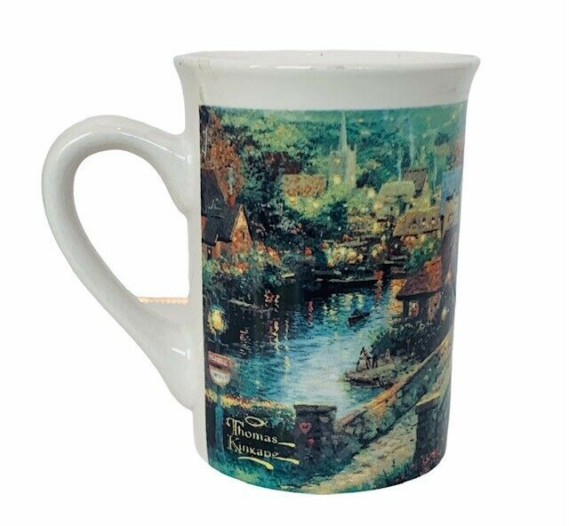 Thomas Kinkade mug cup lamplight village 1995 vtg Painter Light cottage bridge - $24.14