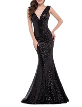 Women's Sexy V Neck Long Evening Party Dress Mermaid Sequins Prom Formal Gown - $105.99