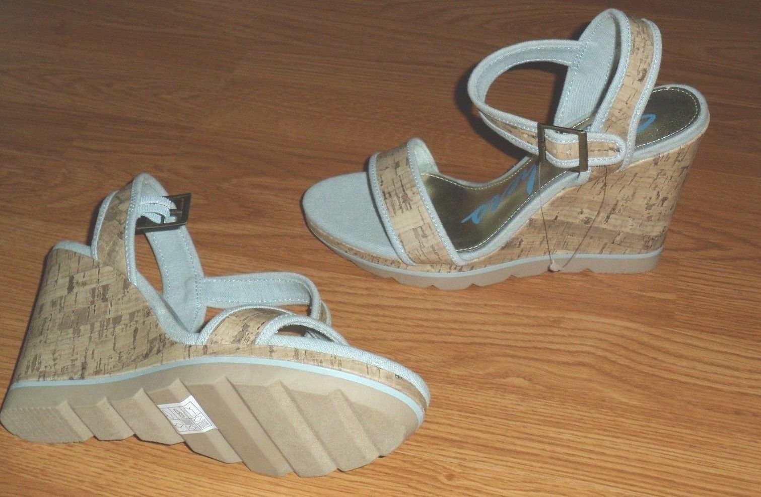 SKECHERS WEDGE HEEL SHOES SIZE 9 STRAPPY BLUE ANKLE STRAP NWT