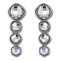 AUTHENTIC SWAN SIGNED SWAROVSKI MINERAL MOONLIGHT PIERCED EARRINGS 10548... - $85.00