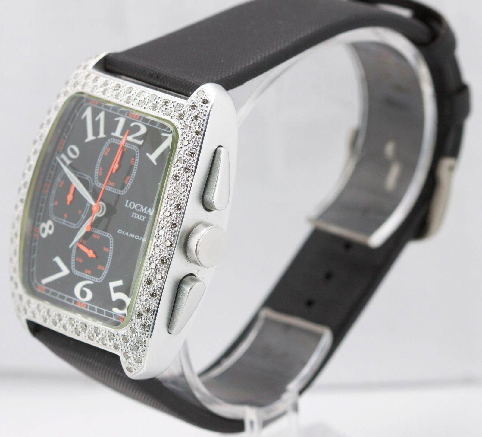 Locman ITALY Aluminum Tonneau Diamond Black Orange Quartz Date Watch REF.487 487