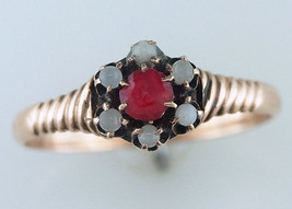 Vintage Antique 1/4ct Ruby & Moonstone 14K Yellow Gold Victorian Cocktai... - $242.55