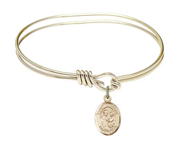 Saint Anthony of Padua 5 3/4 Oval Eyehook 14kt Gold Filled Bangle Bracelet - $79.99