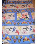 Vtg Mighty Morphin Power Rangers Twin Flat Sheet Pillow Case Fabric Cutt... - $19.68
