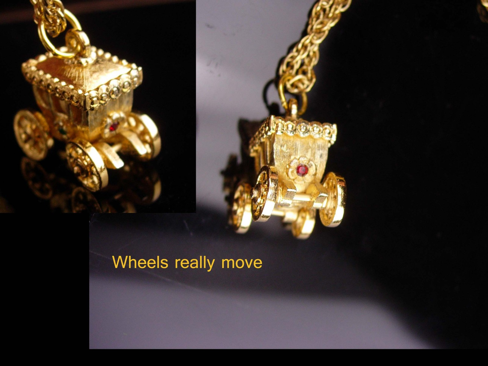 Cinderella Carriage necklace/ mechanical charm / wheels really move / rhinestone