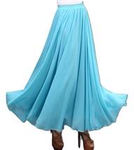 AQUA BLUE Long Chiffon Skirt High Waisted Full Circle Wedding Bridesmaid Skirt image 2