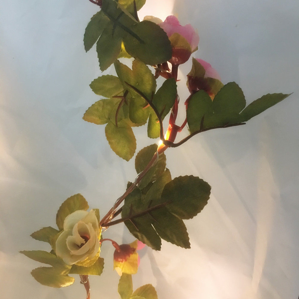 Pink Rose Flower LED Light Garland Wedding Party Fairy String Lights Decoration