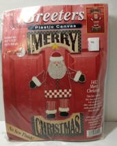 "Merry Christmas Greeter Plastic Canvas Kit Janlynn Santa 10.5"" x 21.25"" ... - $14.50"