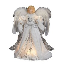Kurt Adler 10 Light White & Silver Angel Christmas Tree Topper Decoration - $34.88