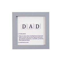 DAD DEFINITIONS GREY WHITE BLACK WOODEN WALL HANGING SIGN 12CM X 12CM X ... - $13.01