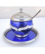 Art Deco Cambridge Cobalt Blue Farber Bros Krome Kraft Mayonnaise With Tray - $33.24