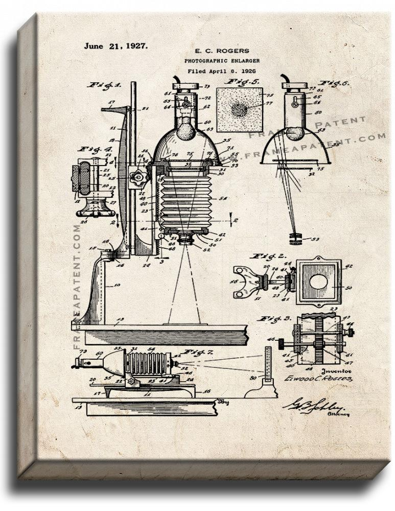 Primary image for Photographic Enlarger Patent Print Old Look on Canvas