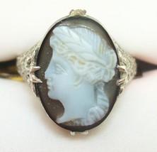 10K Gold Filigree / Art Deco Oval Hard Stone Genuine Natural Cameo Ring (#2557) - $256.50