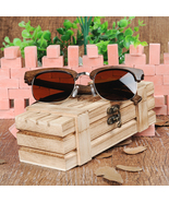 Brand Design Luxury Semi-Rimless Sunglasses Women Original Ebony Wooden ... - $80.00