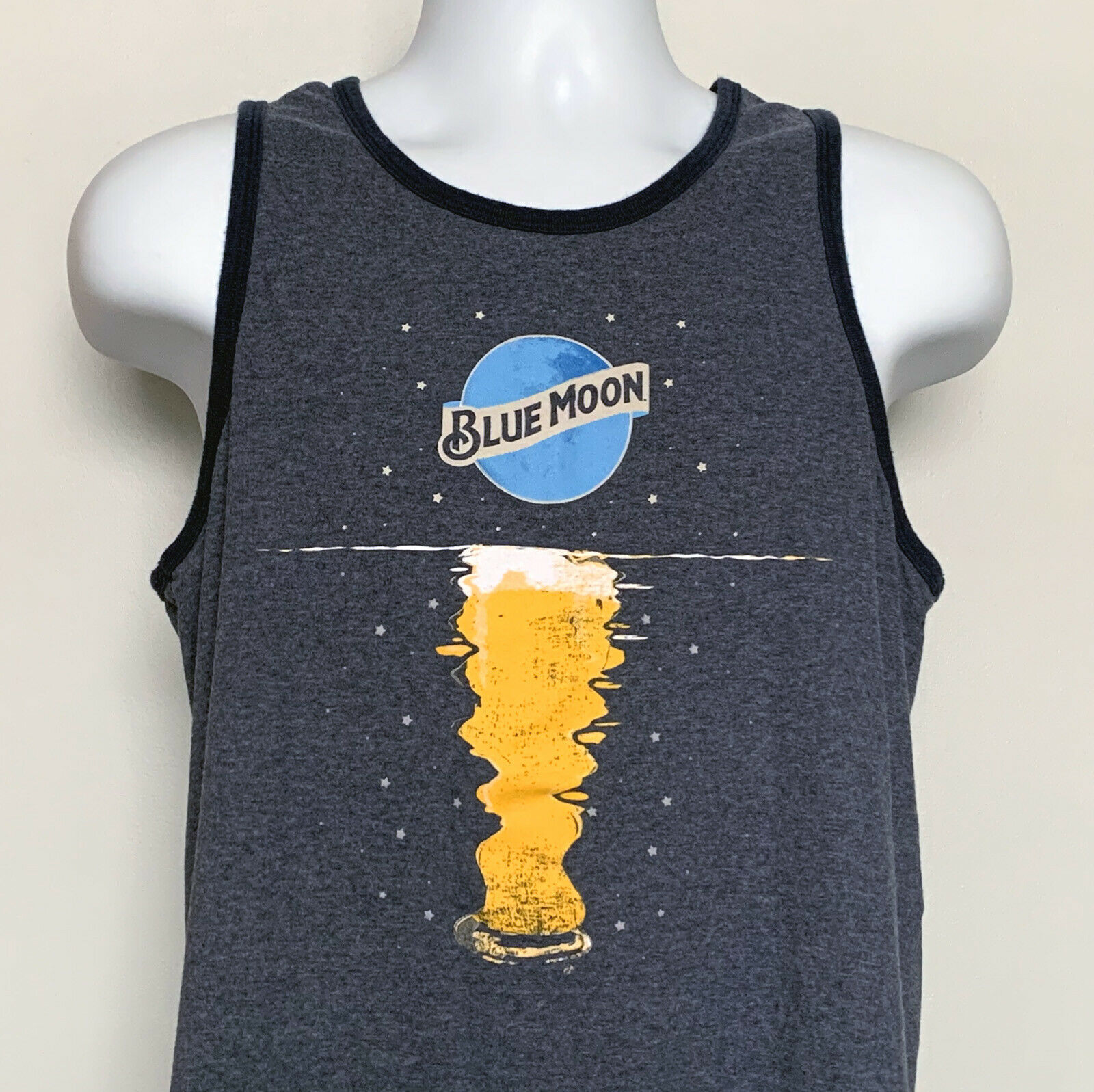 Primary image for Blue Moon Brewing Co Beer Tank Top T Shirt Mens Medium Moon Reflection 50/50