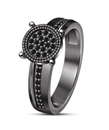Wedding Engagement Ring Round Cut CZ Black Rhodium Finish 925 Sterling S... - $84.78